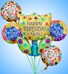 Birthday Tulip Mylar Bundle - Small