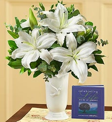 All White Sympathy Bouquet with Dove Vase - with Celebrating Life Book