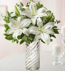 All White Lily Bouquet for Sympathy - with Silver Swirl Vase