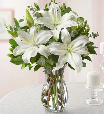 All White Lily Bouquet for Sympathy - with Clear Vase - 1...