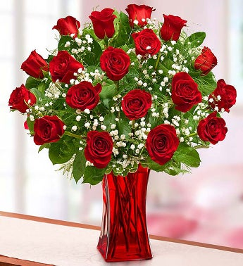 Blooming Love? 12 Premium Red Roses in Red Vase