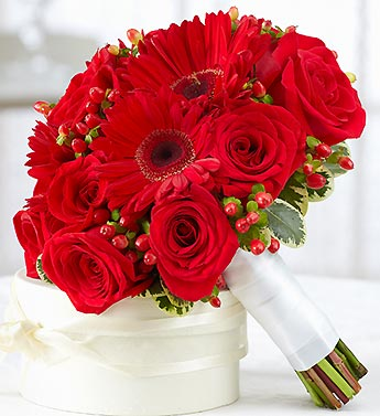 All Red Bridesmaid Bouquet