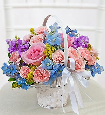 Pastel Flower Girl Basket