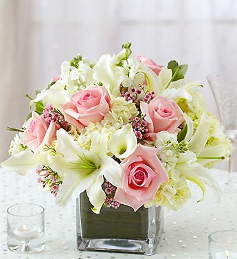 Pink and white centerpiece package from 1 800 flowers com - Vase plat centre de table ...