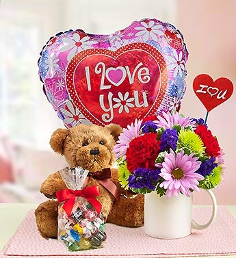 Mugable Bear, Flowers and Candy With Balloon to Say I Love You