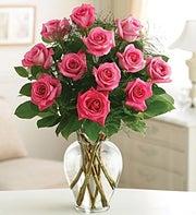 12 Pink Long Stem Roses