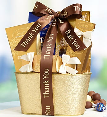 Thank You Golden Lindt Chocolate Basket