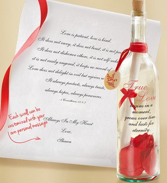 Personalized Message in a Bottle True Love - Love is Pati...