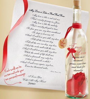 Personalized Message in a Bottle True Love - My Love is L...