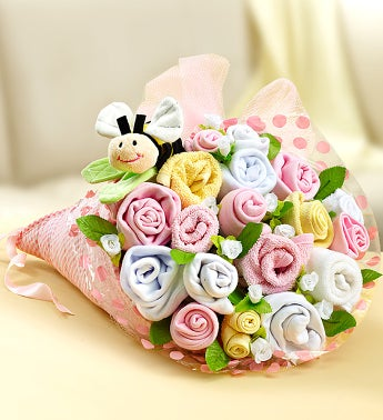 New baby message ideas baby shower messages cards notes text babee layette bouquet 18 pc choose boy or girl m4hsunfo