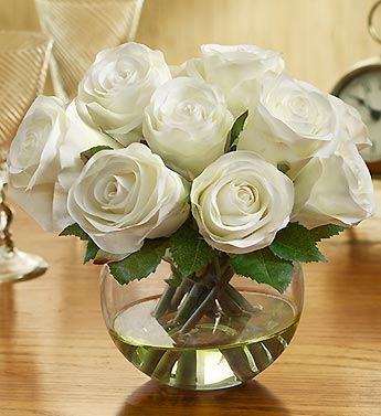 Silk White Rose Water Bouquet