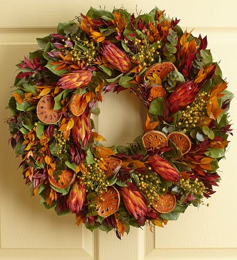 Bright Orange Protea Wreath
