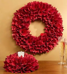 Redwood Rose Wreath - Wreath and Candle Ring