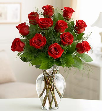 One Dozen Red Long Stem Roses