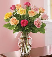 12 Assorted Long Stem Roses