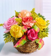 Birds Nest Basket of Roses