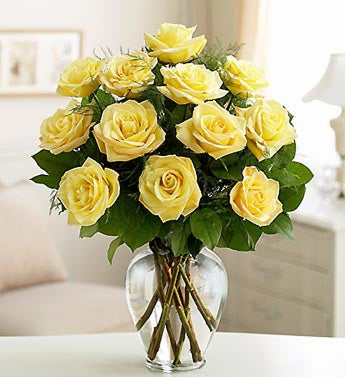 12 Yellow Long Stem Roses
