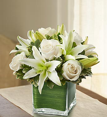 Modern Embrace White Rose and Lily Cube - 1-800-Flowers