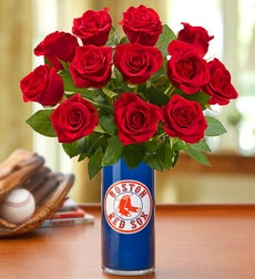 Personalized Vase with Red Roses