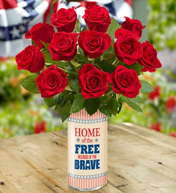 Home of the Free Because of the Brave Bouquet - with Red Roses