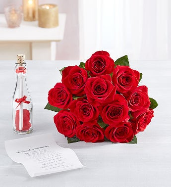 Message in a Bottle with Red Roses, 12-24 Stems