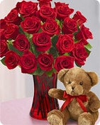 Red Roses with Bear Shop Now