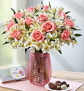 Graceful Pink Rose & Peruvian Lily Shop Now