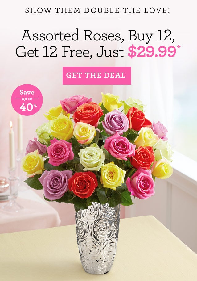 Buy 12 Assorted Roses At 2999 And Get More On Us